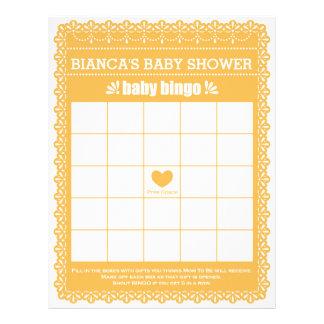 Babyparty-Spiel in orange Papel Picado Flyer
