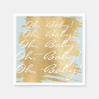 Babyparty-Standardservietten/klassisches Gold/Blau Serviette