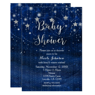 Babyparty-sternenklare Nachtblaue u. silberne Karte