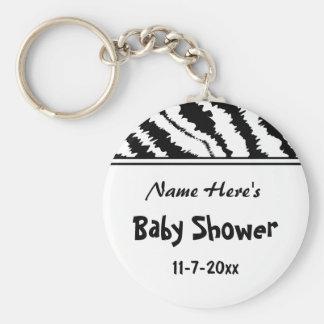 Babypartyschwarzweiss-Zebra-Muster. Gewohnheit Standard Runder Schlüsselanhänger