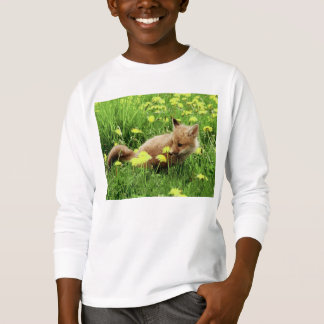 Babyroter Fox auf dem grünen Gebiet mit gelben T-Shirt