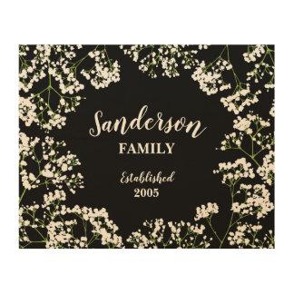 Babys Atem auf schwarzer personalisierter Familie Holzdruck