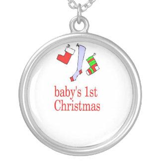 babys erste Weihnachtshalskette Versilberte Kette