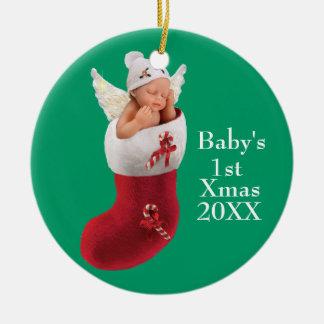 babys erste Weihnachtsverzierung - kundengerecht Keramik Ornament