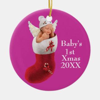 babys erste Weihnachtsverzierung - kundengerecht Rundes Keramik Ornament