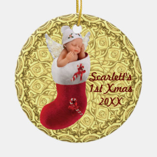 babys erste Weihnachtsverzierung - kundengerechtes Keramik Ornament