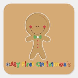 Babys erster Weihnachtslebkuchen-Junge Quadratischer Aufkleber