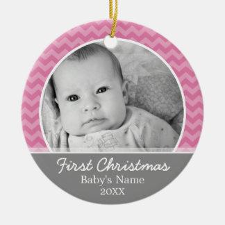 Babys erstes Weihnachten - rosa Sparren und Grau Keramik Ornament