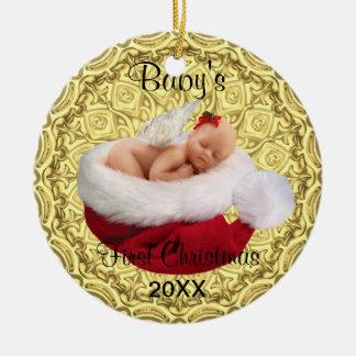 babys erstes Weihnachtsverzierungsrot und -gold Rundes Keramik Ornament