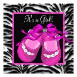 Babyschuh-Pinkzebra-Baby-Dusche Personalisierte Ankündigungen