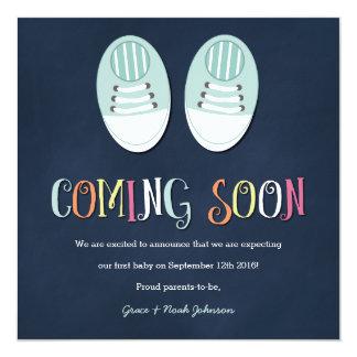 Babyschuh-Schwangerschafts-Mitteilung in der Quadratische 13,3 Cm Einladungskarte