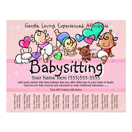 Babysitting Day Care Child Care: Babysitting.Childcare.Day Care.Custom Text/Farbe Flyer