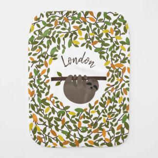 Babysloth-Herbst-Grün-personalisiertes Baby Baby Spucktuch
