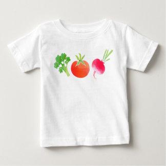 Babyt-shirt der Veggies Brokkoli, der Tomate und Baby T-shirt
