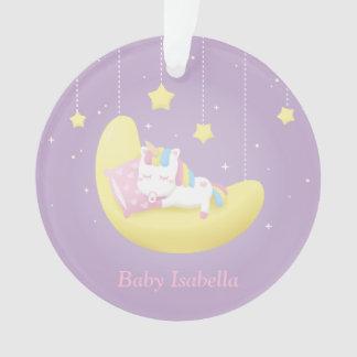 BabyUnicorn auf Mond-Mädchen-personalisierter Ornament