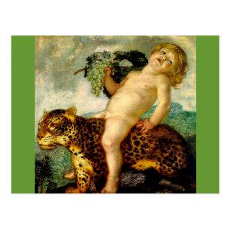 Bacchus, der einen Leoparden reitet Postkarte
