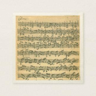 Bach Chaconne Violinen-Musik-Manuskript Papierservietten