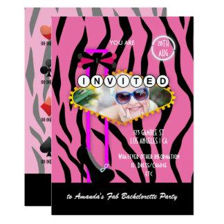 Bachelorette Las Vegas themed Kasino-Party-Foto Karte