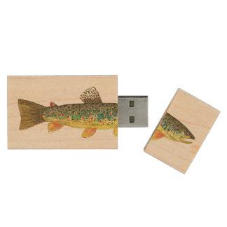 Bachforelle-Fischen Holz USB Stick 2.0
