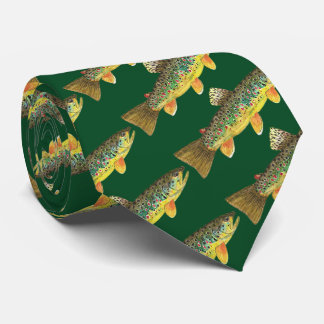 Bachforelle-Fliegen-Fischen-angelnfischers Krawatte