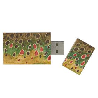 Bachforelle-Fliegen-Fischer Holz USB Stick 2.0