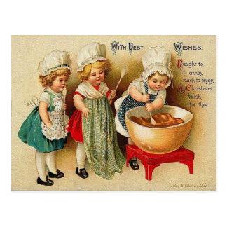 Backen einer Weihnachtspflaumen-Pudding-Vintagen Postkarte