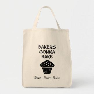 Bäcker, die gehen, mit Kuchen-Taschen-Tasche zu Tragetasche