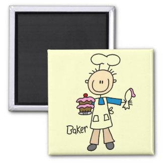 Bäcker mit Kuchen Quadratischer Magnet