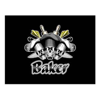 Bäcker-Schädel-und Küchen-Geräte Postkarte
