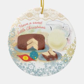 Backschokoladekuchen-Milch Weihnachtsverzierung Rundes Keramik Ornament