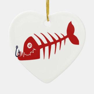 Bad Skull Fish Netz Keramik Herz-Ornament