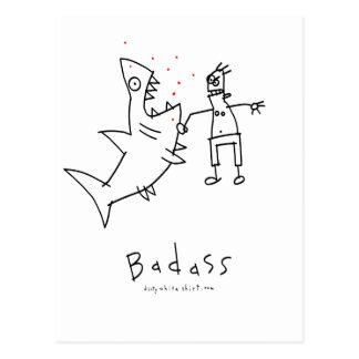 Badass Haifisch-Durchschlag Postkarte