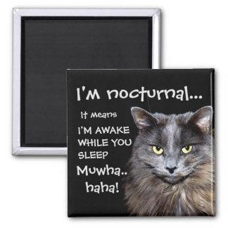 """Badass Katzen - """"ich bin. nächtlich. """" Quadratischer Magnet"""