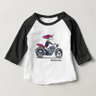 Badass unicorn on motorcycle - Knallhartes Einhorn Baby T-shirt