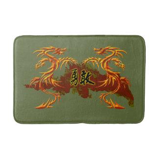 Badematte, 2 Drachen, Feuer, chinesisches Symbol Badematten
