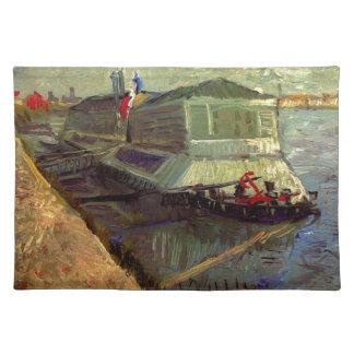 Baden des Floßes auf der Seine bei Asniere durch Stofftischset