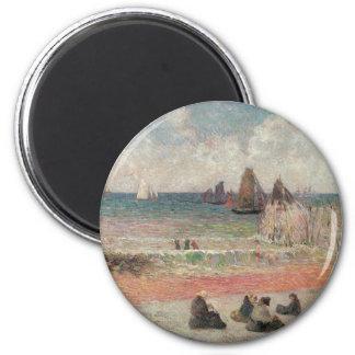 Baden von Dieppe durch Paul Gauguin, Vintage feine Runder Magnet 5,7 Cm