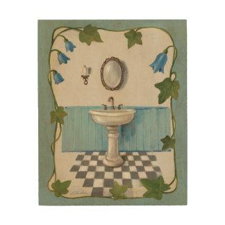 Badezimmer mit Blumengrenze Holzdruck