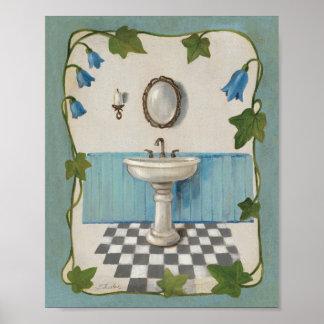 Badezimmer mit Blumengrenze Poster
