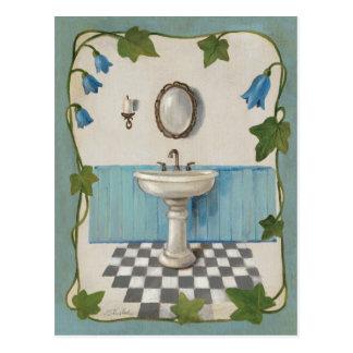Badezimmer mit Blumengrenze Postkarte