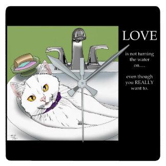 Badezimmer Wannen Katze Quadratische Wanduhr
