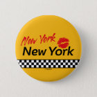 Badge Taxi NY & Red Kiss Runder Button 5,7 Cm