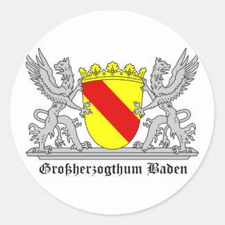 Badischer Greif mi Schrift Großherzogtum Baden Runder Aufkleber