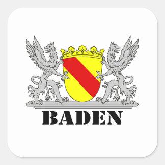 Badisches Wappen Badischer Greif mi Schrift Baden Quadratischer Aufkleber