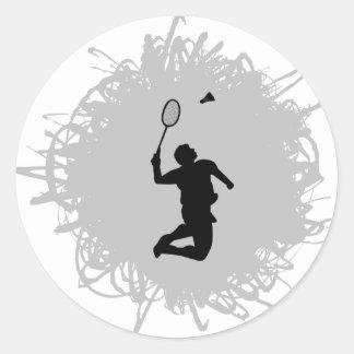 Badminton-Gekritzel-Art Runder Aufkleber