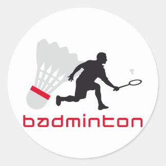 badminton runder aufkleber