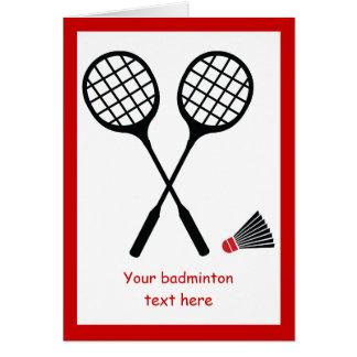 Badmintongeschenke, Schläger und shuttlecock Karte