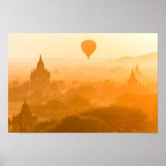 Bagan Myanmar Ballon-Reise Poster