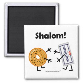 Bagel-u. Frischkäse - Shalom! Quadratischer Magnet
