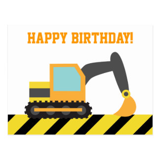Bagger, Bau-Fahrzeug, alles Gute zum Geburtstag Postkarte